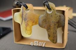 Natural Baltic Amber Necklace Cross Shape Grey Pendant Leather String Genuine