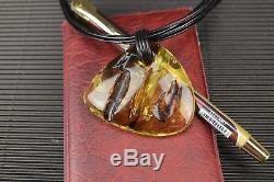 Natural Baltic Amber Necklace Pendant Yellow Brown Polished Oval Leather String