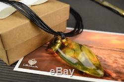 Natural Baltic Amber Necklace Pendant Yellow Polished Oval Leather String 19.7in