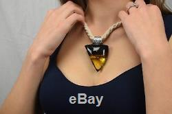 Natural Baltic Amber Necklace Pure Genuine Pendant Black Yellow Triangle Linen