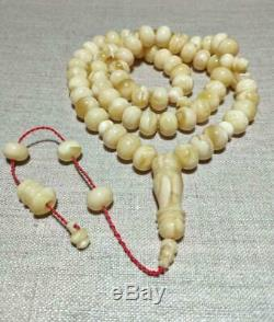 Natural Baltic Amber One Stone Tesbih White Tiger Color Misbaha Prayer Beads 76g