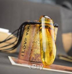 Natural Baltic Amber Pendant Necklace Oval Yellow Pendant Leather String Pure