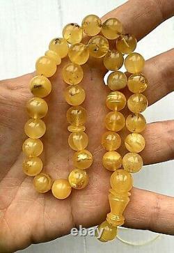 Natural Baltic Amber Poland 22gr Islamic Prayer Rosary Round Beads Tesbih Misbah