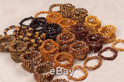 Natural Baltic Amber Raw Unpolished Beads Bracelets Various Colors Lot 100