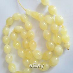 Natural Baltic Amber Rosary Islamic Prayer 33 Beads Olive 69g