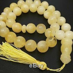 Natural Baltic Amber Rosary Islamic Prayer 33 Round 17.5 mm Beads 109g