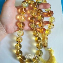 Natural Baltic Amber Rosary Islamic Prayer 33 Round 20mm Beads 161g