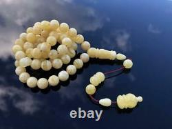 Natural Baltic Amber Stone Tesbih Rosary Tiger Islamic Misbaha Prayer Beads 41gr