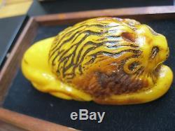 Natural Baltic Amber Uniqe Statuette Lion 166 g