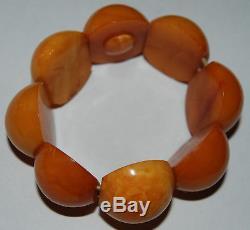 Natural Baltic Amber. Vintage Bracelet. EggYolk/Brindled color. 28 gr (a565)