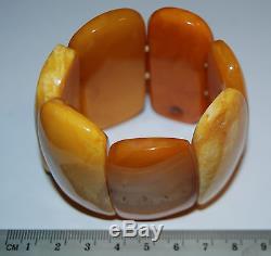 Natural Baltic Amber. Vintage Bracelet. EggYolk/Brindled color. 78 gr (a218)