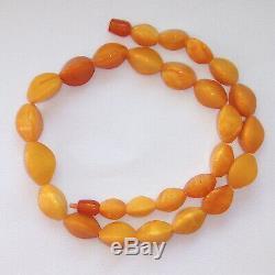 Natural Baltic Amber Vintage Necklace Egg Yolk Butterscotch Royal Amber 37 grams