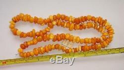 Natural Baltic Amber Vintage Necklace Egg Yolk Butterscotch Royal Amber 96 gr