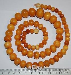 Natural Baltic Amber. Vintage Necklace. EggYolk/Butterscotch. 59 g, 70cm (A004)