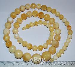 Natural Baltic Amber. Vintage Necklace. EggYolk/White color. 104 g, 86 cm (A003)