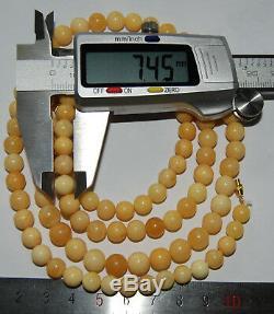 Natural Baltic Amber. Vintage Necklace. EggYolk/White color. 26 g, 80cm a750