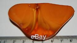 Natural Baltic Amber. Vintage Pendant. Red brindled color. 23,8 gr (a115)