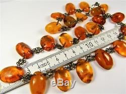 Natural Baltic Amber stone old vintage authentic necklace 40 grams genuine 1850