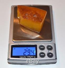 Natural Baltic Antique Raw Amber Red Butterscotch Egg Yolk BEESWAX 29.4 gram