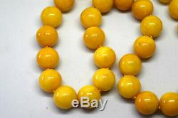 Natural Baltic Butterscotch Amber Round Beads Necklace 50 Grams