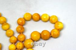Natural Baltic Butterscotch Amber Round Beads Necklace 63 Grams