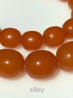 Natural Baltic Butterscotch Egg Yolk Amber Bead Antique Necklace 74 g 27.5