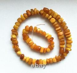 Natural Baltic Egg Yolk Butterscotch Faceted Beads Necklace + Few Beads Vintage
