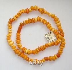 Natural Baltic Royal Egg Yolk Amber Necklace 57 gr. Amber beads Russian Vintage
