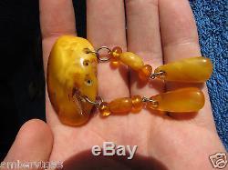 Natural Baltic amber 16 gr yolk yellow pin brooch Butterscotch USSR Jewelry