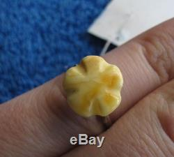 Natural Baltic amber 2 g ring sterling silver 925 USSR Russia antique size 7