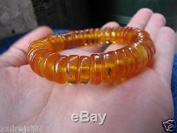 Natural Baltic amber 33 gr bracelet cylinder wheel puck tablet cognac USSR