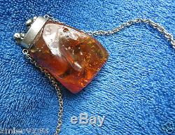 Natural Baltic amber 39 gr BIG pendant charm fossil seaweed flower inclusion