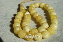 Natural Baltic amber Islam prayer beads round necklace, bracelet 24 gram