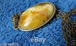 Natural Baltic amber Necklace White Yellow Pendant Amulet Charm openwork
