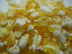 Natural Baltic amber loose drilled white hearts