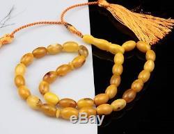 Natural Butterscotch Baltic Amber Islamic 33 Prayer Worry Beads Tasbih Misbah