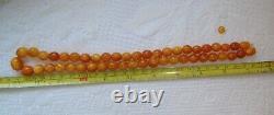 Natural Butterscotch Egg Yolk Baltic Amber Necklace Olives Beads 31 gr. Vintage