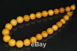 Natural Butterscotch Egg yolk Antique 100% Baltic amber bead necklace, 86 g