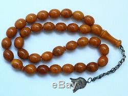 Natural Butterscotch Yolk Baltic Amber Beads Rosary Kahrman Misbah Tesbih 44 gr