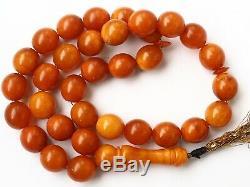 Natural Butterscotch Yolk Baltic Amber Beads Rosary Kahrman Misbah Tesbih 61,7gr