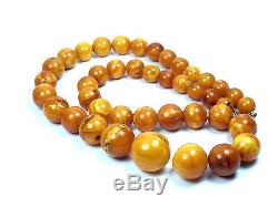 Natural Genuine Baltic Amber BUTTERSCOTCH EGG Yolk Necklace Beads 27.80 g
