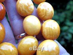 Natural Genuine Baltic Amber BUTTERSCOTCH EGG Yolk Necklace Beads 82.20 g