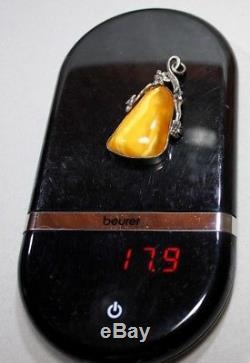 Natural Genuine Butterscotch Egg Yolk Baltic Amber Pendant Silver 925