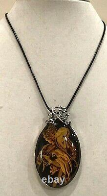 Natural Genuine Cognac Baltic Amber Cameo Pendant 925 Silver 28.8gr Irena. Wastag