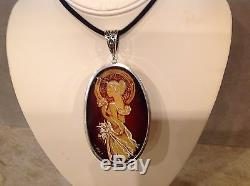 Natural Genuine Cognac Baltic Amber Cameo Pendant 925 Silver 56.5By Irena Wastag