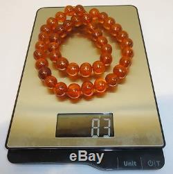 Natural Huge 83gr Antique Genuine Baltic Egg Yolk Amber Round Beads Necklace 15