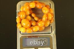 Natural OLD Antique 18.6g Butterscotch Egg Yolk Baltic Amber Stone Necklace C925