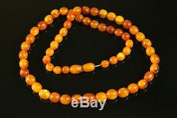 Natural OLD Antique 19.4g Butterscotch Egg Yolk Baltic Amber Stone Necklace C126