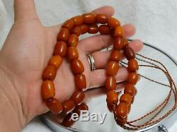 Natural Old Antique Butterscotch Egg Yolk Beads Baltic Amber Necklace 46 Grams