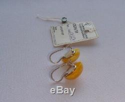 Natural Royal Egg Yolk Amber Earrings Solid Silver 925 Soviet Russian Vintage